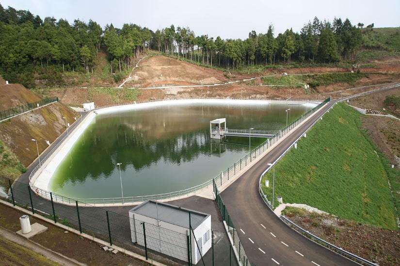Construcción de la laguna de Portela, Madeira